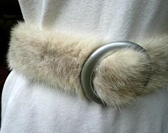 Vintage Mink - Mink Belt with Buckle - Genuine Fur Estate Belt - Furrier Made Silver Mink Belt - Fur Winter Dress Accessory - Belt