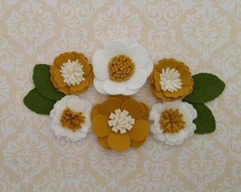 Handmade Wool Felt Flowers, Mustard, Ivory and White