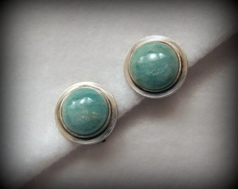 Vintage DAVID ANDERSEN/Uni David-Andersen Earrings in AMAZONITE and Sterling Silver -- Clips, Excellent Condition, Matching Brooch Available