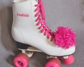 Temporary on reserved double checking sizing ......Vintage 1980s/1990s  white and pink high top roller skates woman size eighths