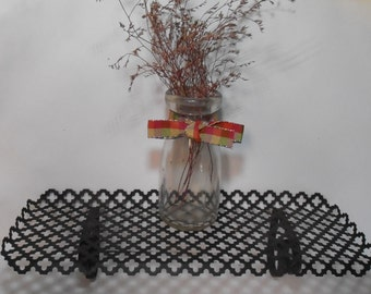 Vintage wrought iron wall shelf, pierced iron shelf, display shelf, wrought iron heart, wall shelf, vintage shelf