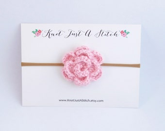 Soft Pink Crochet Flower Headband or Clip