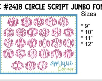 INSTANT DOWLOAD 2418 Circle Script Monogram Font JUMBO bx, dst and pes only digital design for embroidery machine by Applique Corner