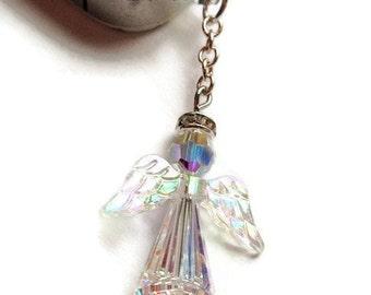 Swarovski Angel Phone Charm, Angel Dust Plug, Angel Jewelry for Phone, Gift Idea, Inspirational Gift