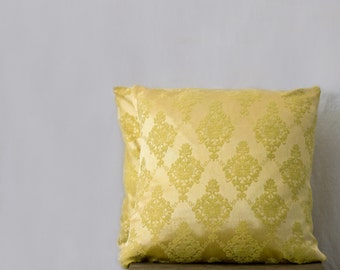 yellow damask pillow cases, brocade pillow, 18x18 yellow pillow, SET OF TWO, decorative throw sofa cushions, gold pillow, yellow silk pillow
