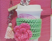 Cute Coffee Cup Crochet Knitted cozy, handmade custom in any color with flower, lip, mustache, face