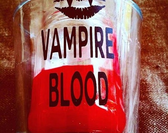VOTIVE CANDLE with Vinyl Design Choose your Colors and Design Vampire Blood, Skull, Mermaid, UFO, Pin Up Chihuahua Girl