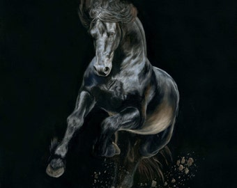 """Nicole Smith Original Artist Horse Oil Painting on canvas Art Equine Friesian """"Shadows and Dust"""" 24x24"""