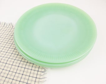 "Fire King Jadeite 'Jane Ray' Pattern 9"" Dinner Plates - Three Dinner Plates - From Fire-King - Awesome Green Opaque Milkglass - Collectible"