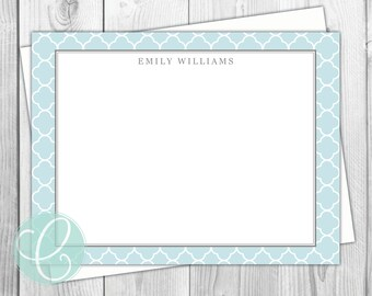 Quatrefoil Stationery Flat Note Cards - Set of 12 - Personalized Thank You Cards Aqua Moroccan Print Blue Gray - Monogrammed Address Labels