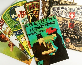 Absinthe Labels - 12 Vintage-Inspired Absinthe Bottle Labels / French Victorian Absinthe / Green Fairy / Alcohol Labels / Halloween Decor