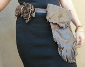 Leather Flower Belt With Fringed Pouch