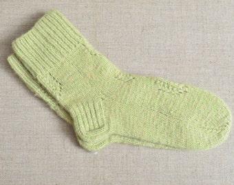 Mens Wool Socks Thermal Dress Hiking Camp Hand Knit 11 in