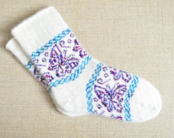 Women's Winter Angora Wool Socks With Ornament NEW