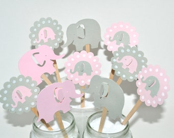12 Pink Elephant Cupcake Toppers/Elephant Baby Shower/Elephant Party Decor/Pink Elephant Party/ Pink & Grey Elephant Centerpiece