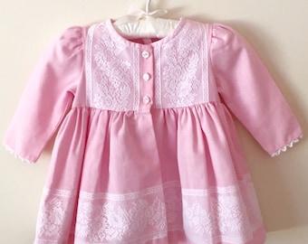 80s Pink Lace Empire Waist Dress Coat, Size 12 Months