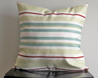 Retro Striped Pillow Cover- 18x18 Red and Turquoise Pillow Cover,