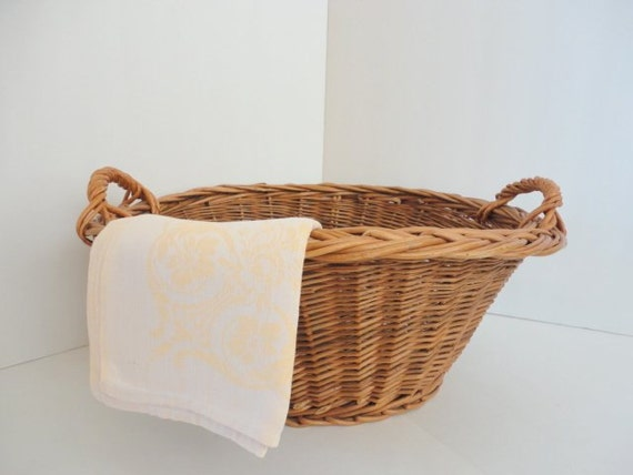vintage woven laundry basket with handles 1960s small wicker. Black Bedroom Furniture Sets. Home Design Ideas