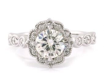 Mandala moissanite engagement ring center diamond vintage style moissanite halo ring floral style ring yellow gold rose gold