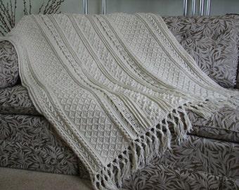 Ecru crocheted Aran Afghan