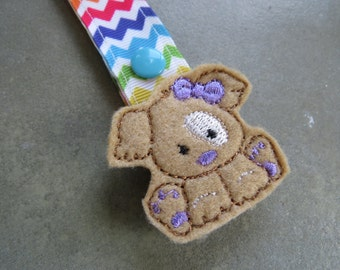Pacifier Leash Paci Clip - Puppy with Purple Bow Feltie Metal Pacifier Clip