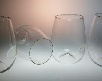 Good-Grip Ergonomic Handblown Stemless Wine Glasses - Set of 6