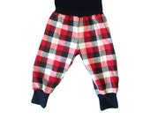 Black Red and White Buffalo Plaid Baby Toddler Harem Pants