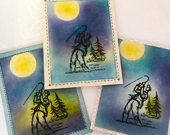 Happy Father's Day - male anniversary - Stampin Up cards - Fishing - Male birthday - Masculine - fisherman - greeting cards - hand stamped