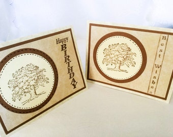 Stampin Up cards - Masculine card - birthday card - best wishes - oak tree - elegant beige and brown