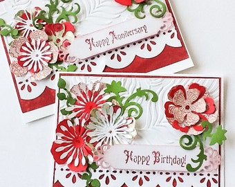 Hand made cards: Filligree Red and white card - happy birthday - Anniversary - Valentine - flower card -embossed - handmade - Wcards