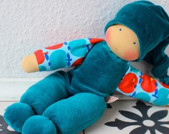 organic cuddle doll/teal, 13 inch, organic doll, soft doll, waldorf doll, steiner doll,