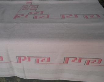 Mid Century 60s Geometric Pink Gray Silver Tablecloth Greek Key Design