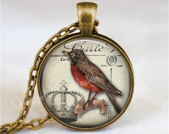 ROBIN Necklace, Robin Jewelry, Robin Pendant, Robin Charm, Red Bird, Robin Red Breast, Bird Necklace, Robin, Glass Art Pendant Necklace