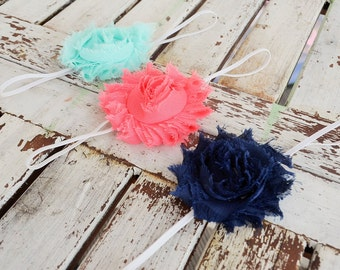 Set of Three Shabby Headbands- Girls Headband- Rosette Headband- Baby Headband- Baby Shower Gift