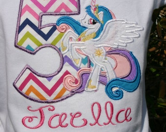 Girls birthday Shirt, little Pony, Personalized Shirt, Embroidered, Appliqued, Monogrammed