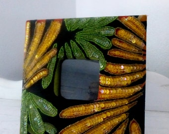 Picture Frame British West Indies Tropical Florals & Leaves Richley Accented with Matching iridescent Sequins
