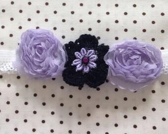 """Purple Floral Headband - Newborn 13-15"""""""