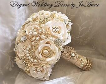 Gold Brooch Bouquet- DEPOSIT for a Custom Gold and Ivory Wedding Brooch Bouquet, Custom Bouquet, Ivory and Gold Bouquet, Broach Bouquet