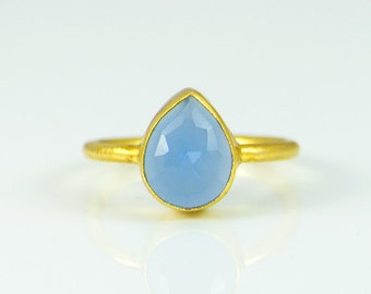 Blue Chalcedony ring, sterling silver ring, teardrop ring, stackable ring, bezel set ring - Size 5 - Size 7, blue gemstone ring, gold ring