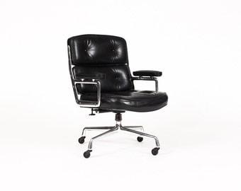 Mid Century Vintage Time Life Desk Chair — Charles Eames for Herman Miller — Black Leather