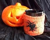 SALE - 30% off! Halloween Spider Cup Cozy. Hand Knit Orange Pumpkin Coffee Cup Cozy. Knitted Tea Mug Cozy.