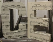 Decorative Letters - Vintage Sheet Music Decor - Large Letter Decor - Decopage Sheet Music Letters - Musical Gifts - Music Decor