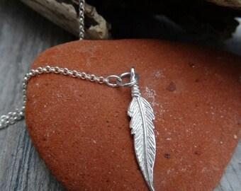 Long leaf lariat necklace. Sterling silver.