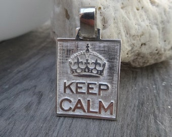 Keep Calm pendant. Sterling silver. Large size.
