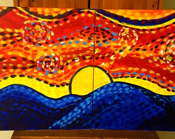 Hand Painted Dual Canvas Abstract Sunrise/Sunset Display