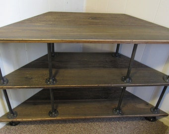 "Corner TV Stand, Industrial, Iron and Wood, for 46"" to 52"" TVs"