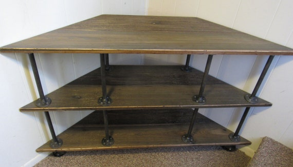 Wooden Iron Stand Designs : Corner tv stand industrial iron and wood for to