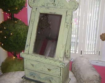 cottage chic  green rustic mirror with drawers