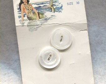 2 Vintage White Mother of Pearl Buttons on card-Mermaid Pearls