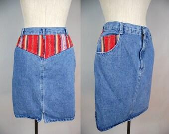 Vintage Denim Pencil Skirt w/ Woven Mexican Blanket Patch Native Navajo Print Size 9 10 Medium Boho Bohemian Biker Festival High Waisted